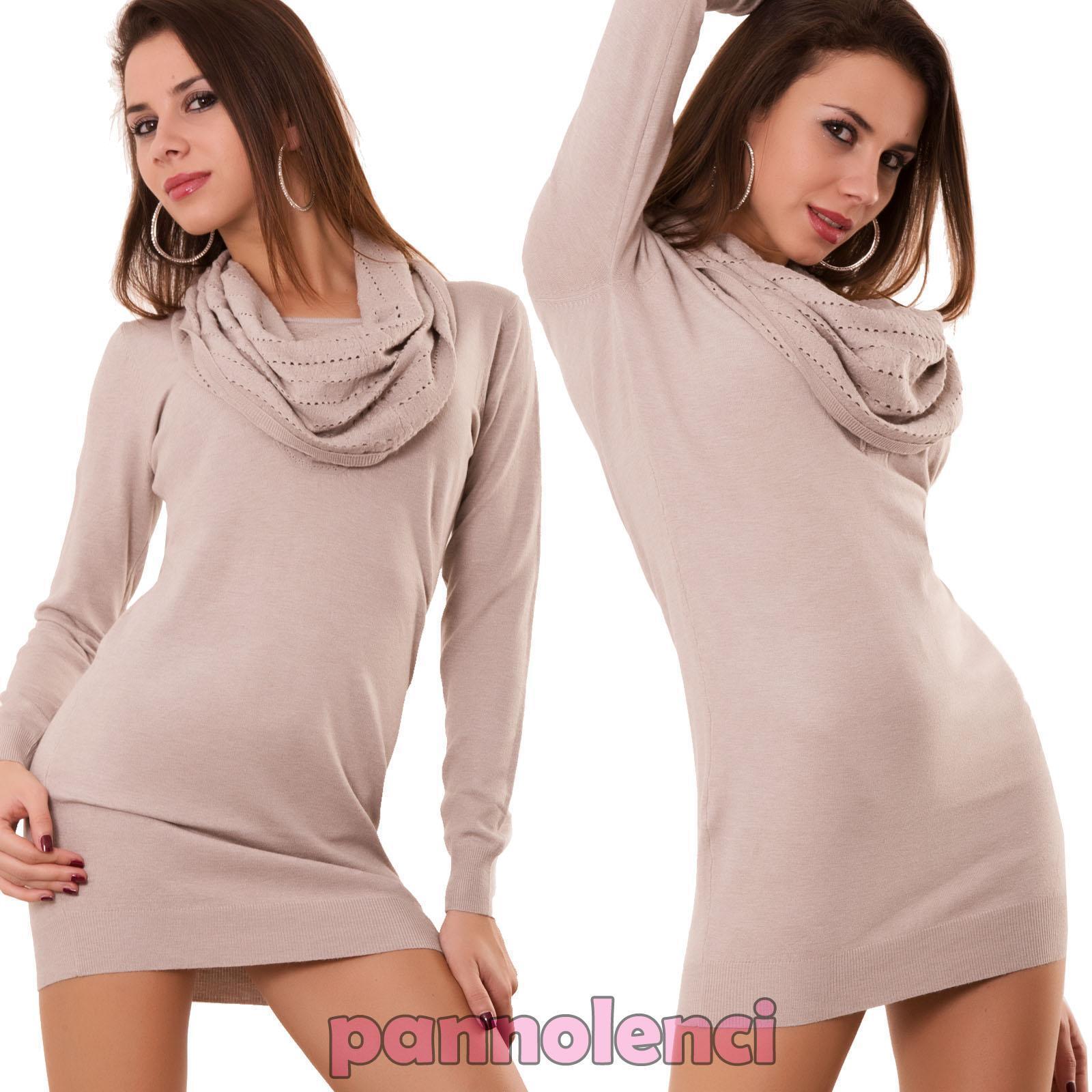 Miniabito pull donna maxipull abito vestito collo strass traforato pull Miniabito nuovo LB8137 0441aa