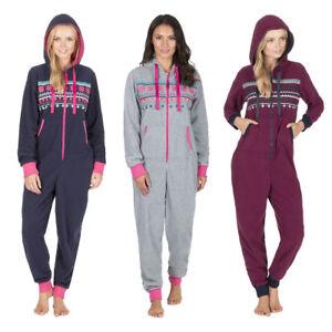 a13dd83777d5 Ladies All in One Hooded Onezee Luxury Microfleece Pyjama Jumpsuit ...