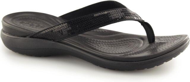 d2307ac87395 Crocs 204311 Capri V Sequin Flip - 001 Black (synthetic) Womens ...