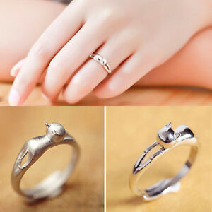 Silver Plated Cat Design Opening Adjustable Rings Gift Plain Wedding
