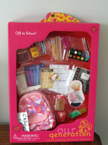 "Our Generation Back to School Backpack Supplies Playset 18/"" Girl Doll American"