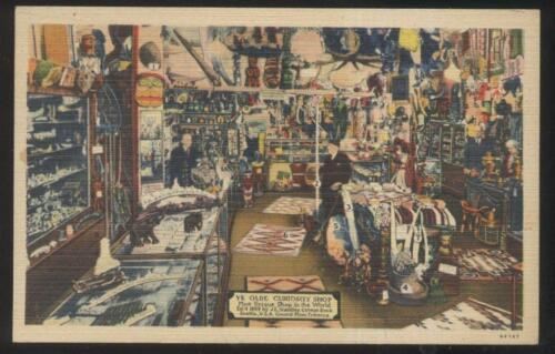 POSTCARD SEATTLE WAWASHINGTON YE OLDE CURIOSITY SHOP INTERIOR 1930'S