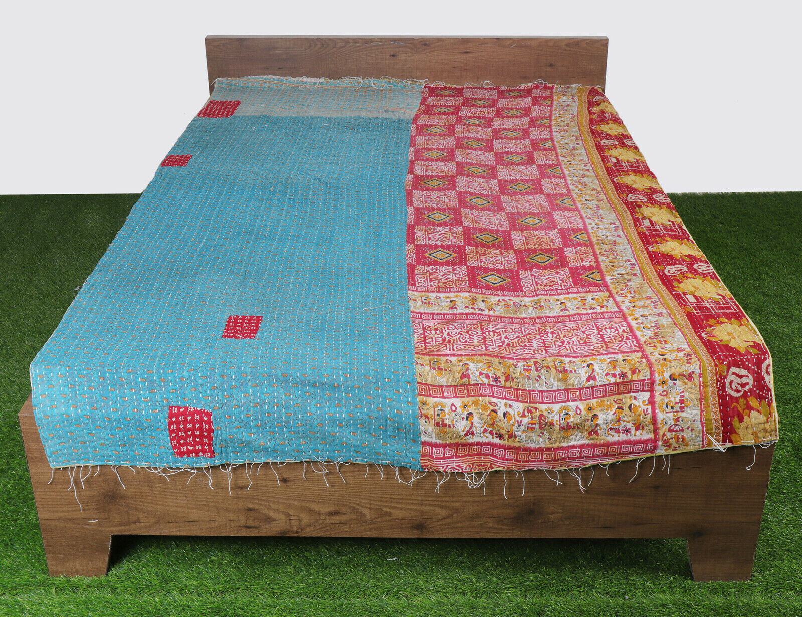 Funda Nordica Desigual Japanese.Vintage Gudari Kantha Quilt Reversible Handmade Indian Throw Blanket