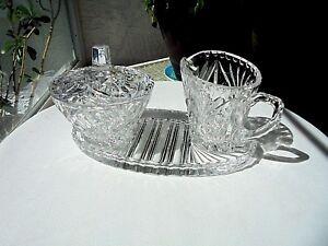 Vintage-c-1940-039-s-Brilliant-Crystal-Cream-amp-Sugar-Set-amp-Oval-Tray