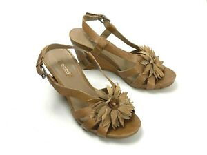9244ed2a Details about ECCO $149 Leather Rosette Floral Embellished Wedge Shoes Size  37 US 6 / 6.5