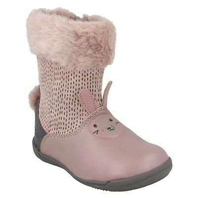 Mädchen Clarks Stiefel Rosa Leder Häschen Binkies Pelz Lang Schuhe Größe Iva | eBay