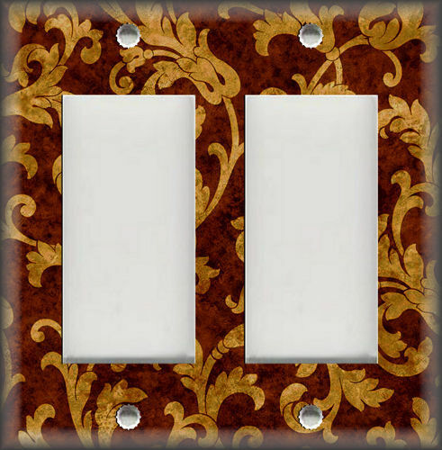 Leaves Vines Decor Design Rust Brown Wallplate Metal Light Switch Plate Cover