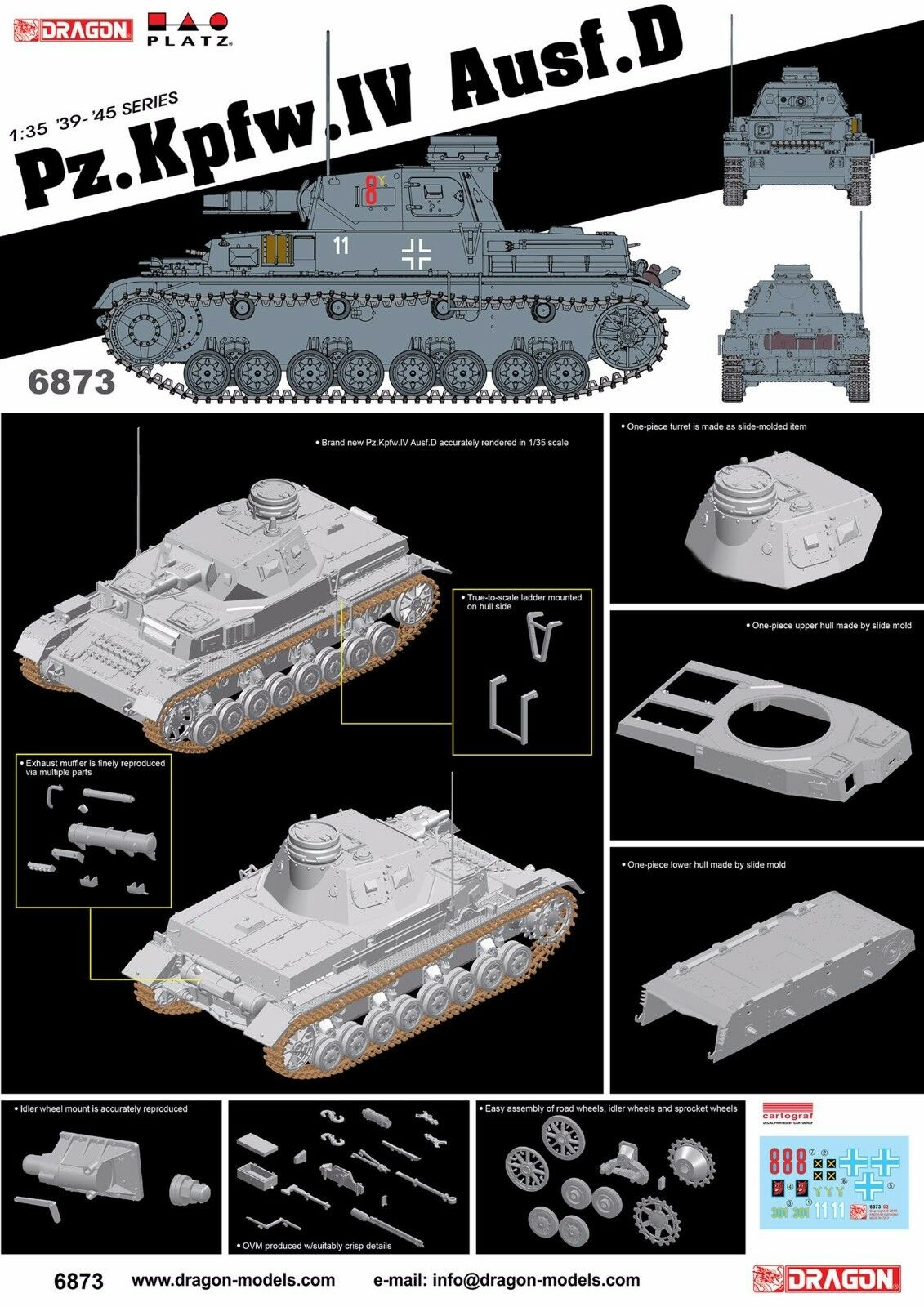 Dragon 1 35 6873 Pz.Kpfw.IV Ausf D Model kit