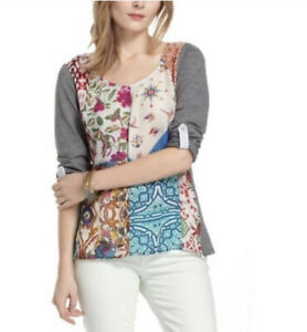 One-September-Anthropologie-Milieu-Patchwork-Roll-Tab-Sleeve-Top-Blouse