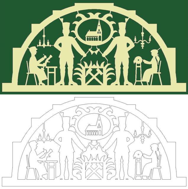 Schwibbogen-Vorlage: Bergmänner mit Volkskünstlern und Wappen mit Kirche