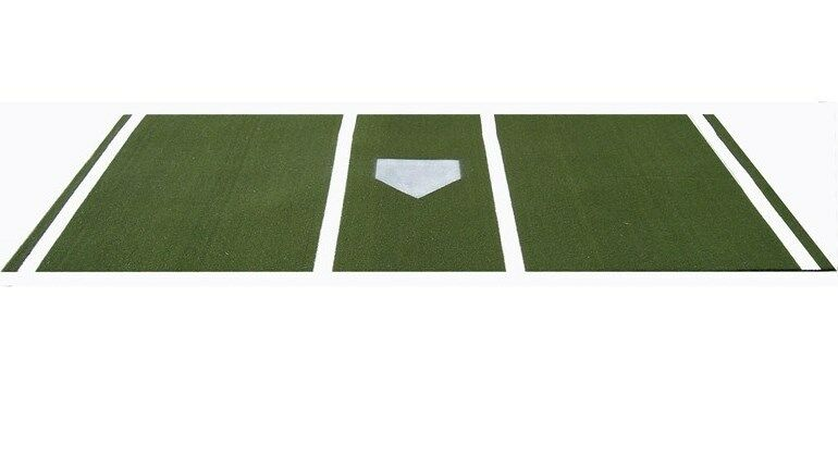 7' x 12' Pro Nylon Batter's Box Mat w Inlaid Stripes & Painted Plate Green