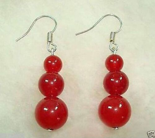 NEW 8mm-10mm Silver Red Ruby Beads hook Earrings