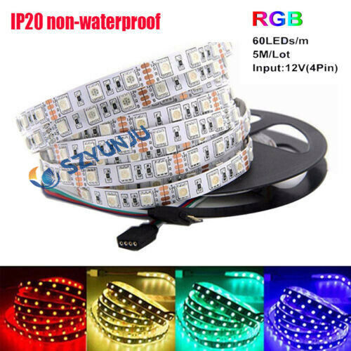 5M SMD 5050 RGB NO-Waterproof 300LED Flexible 3M Tape Strip Light DC12V one roll