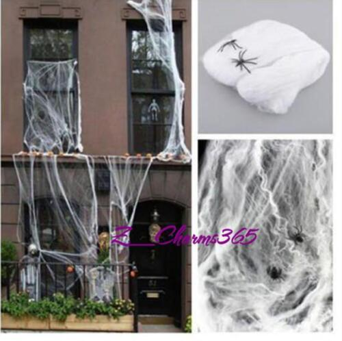 Hotsell Spider Web With Spiders Halloween Party Bar Decoration Stretchy Cobweb Z