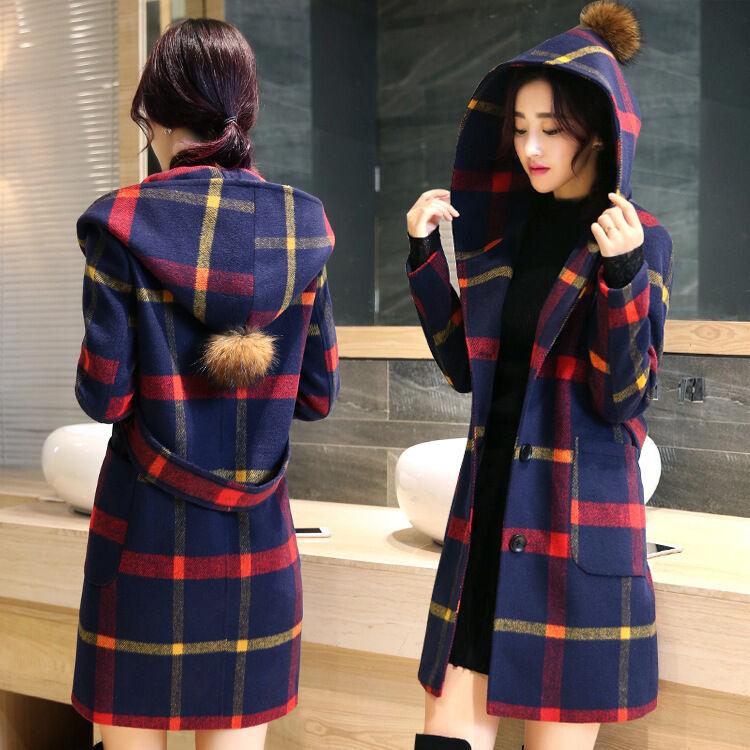Womens Fashion Plaid Parka Dress Dress Dress Hooded Wool Blend Trench Long Coat Peacoat New e33b07