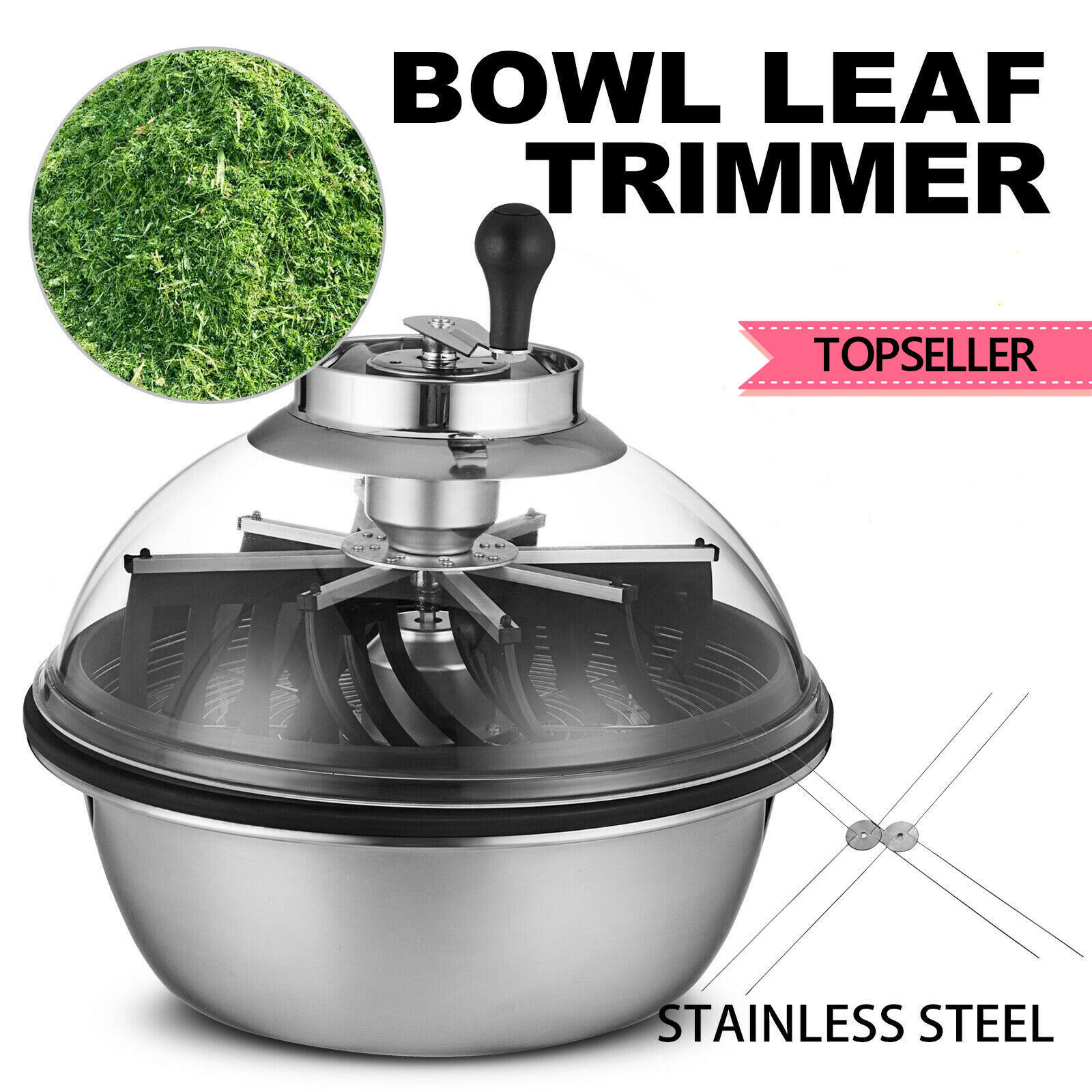 Manual Bowl Trimmer Plant Flowers Cutter Stainless Steel Gross Chopper Crusher