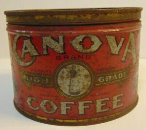 Old-Vintage-1930s-Canova-Coffee-KEYWIND-COFFEE-TIN-ONE-POUND-Louisville-Kentucky