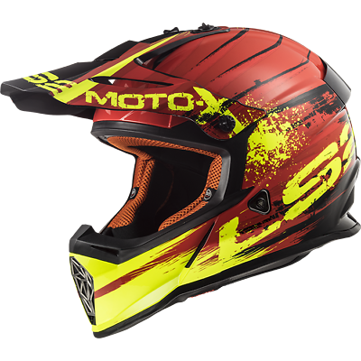 Casco Da Moto Per Cross Enduro Quad Ls2 Mx 437 Fast Gator Red Taglia M