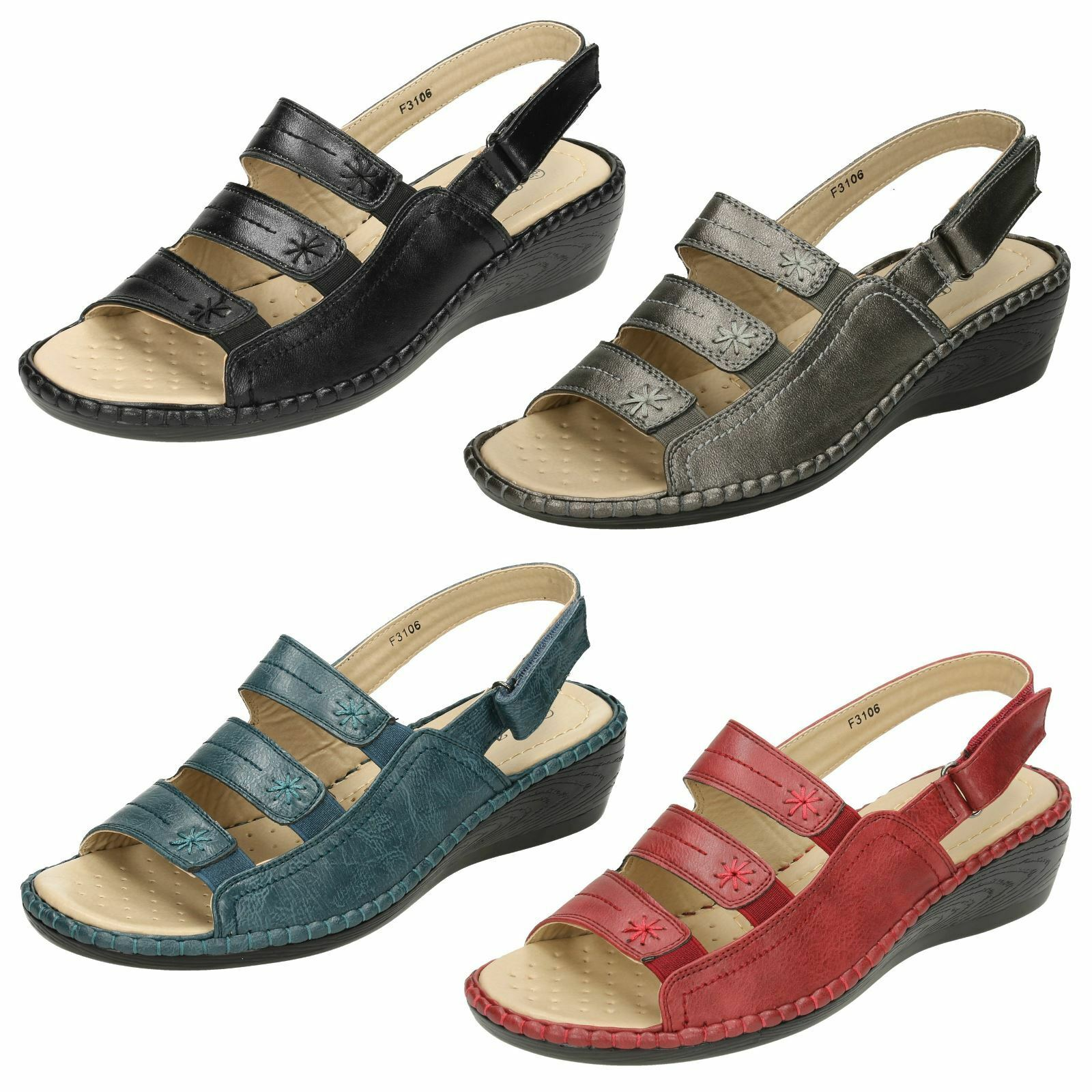 Ladies Eaze Comfort Wedge Toe Sandals With Open Toe Wedge Front b9a351