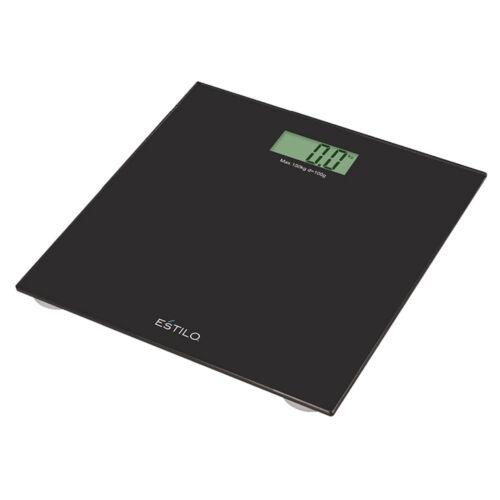 Estilo DIGITAL BATHROOM SCALE 150kg Capacity,6mm Tempered Glass BLACK *AUS Brand