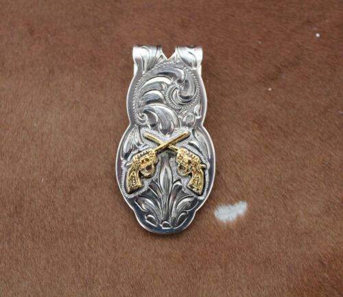 Silver Gold Money Clip Mens Western Cowboy Rodeo Guns Hunting Engraved Revolver