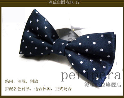 Chic Mens Blue/white dots Unique Tuxedo Bowtie Wedding Party Bow Tie Necktie