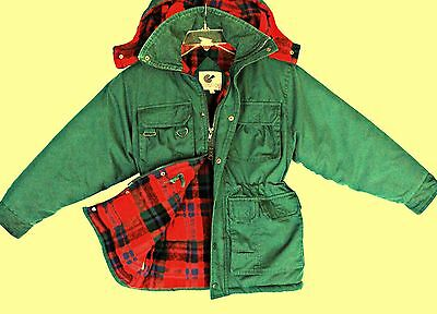 Vintage Utility Winter Jacket Size 8 10 12 Boys Green Insulated Blanket Lined ✔