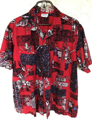 1950's Hawaiian Surf Men's Cotton Hawaiian Shirt S