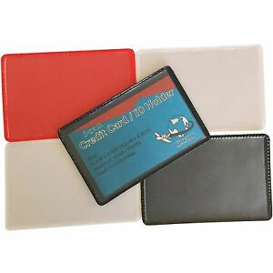 10-ID-CREDIT-BUSINESS-CARD-SINGLE-COVER-HOLDER-PROTECTOR-Clear-Black-Blue-Red