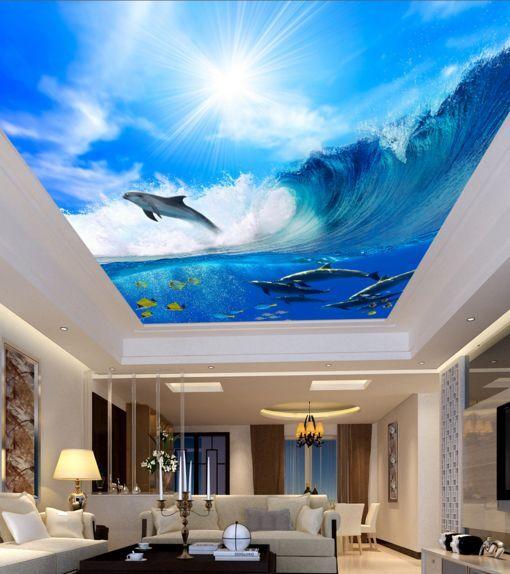 3D Jumping Fish Ceiling WallPaper Murals Wall Print Decal Deco AJ WALLPAPER GB
