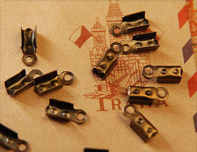 100x Schmuck Endkappen Lederbandkäppchen bronze 4x10mm sz437