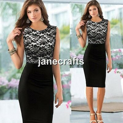 Women Floral Lace Sleeveless Slim Bodycon Cocktail Party Evening Pencil Dress
