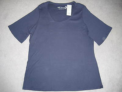 BNWT M/&S NAVY BLUE SCOOP NECK T SHIRT WITH SHORT SLEEVES SIZE 10