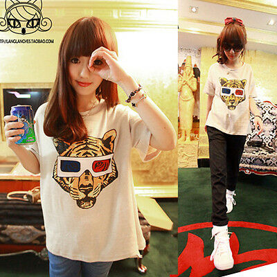 Womens Korean Cute T-shirt Girl Stylish Tiger Short sleeve Casual Top Blouse