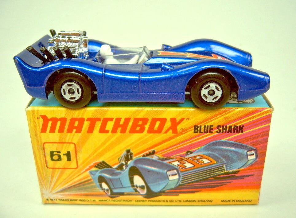 MATCHBOX superfast Nº 61b bleu shark rare argentées plaque de sol top dans Box