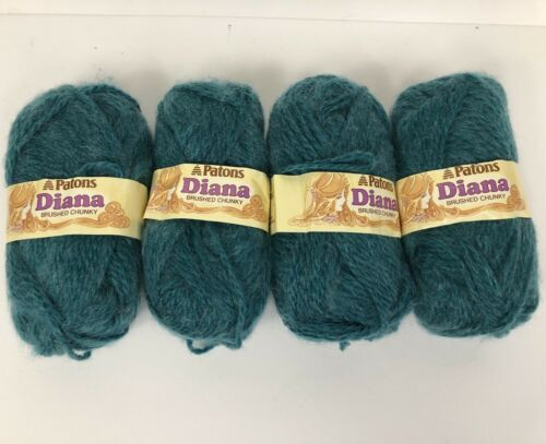 4 New 50g Skeins Patons DIANA Brushed Chunky Acrylic Nylon Soft Yarn Teal 9214