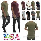 Mens T-Shirt Lot Long Extended Casual Fashion T-Shirt Basic Crew Neck Hip Hop