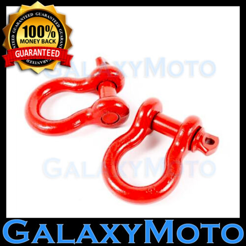 """Heavy Duty 1 Pair 3//4/"""" RED 4.75 Ton D-Ring Bow Shackle Off Road 4x4"""