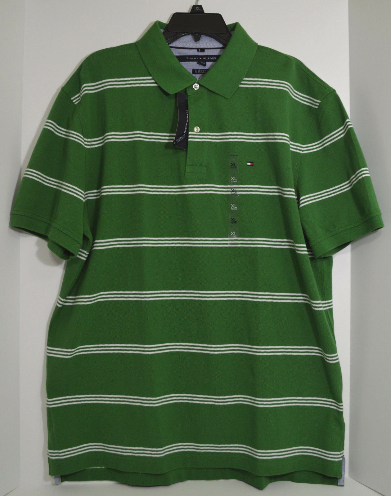 Tommy Hilfiger Green White Striped Mens Size Xl Polo Collared Shirt