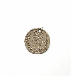 Antique-Victorian-Charm-1887-Three-Pence-Coin-925-Sterling-Silver-1-4g
