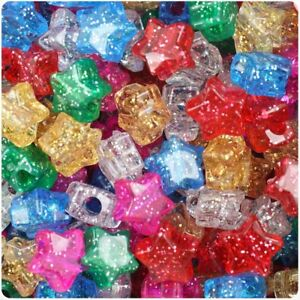 3-for-2-50-100-Mixed-Sparkle-Star-Shape-13mm-Beautiful-Quality-Pony-Beads