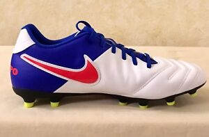 atraer Tender incrementar  Women Nike Tiempo Rio III FG Soccer Cleats White & blue 819258-164 Size 12  | eBay