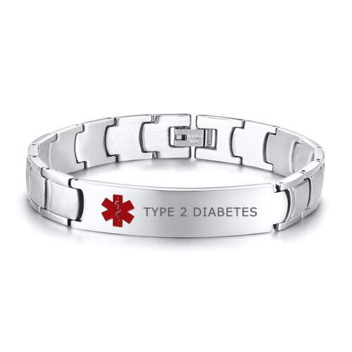 Hommes Médical Alert ID Bracelet en acier inoxydable Brassard gravé le diabète de type 2