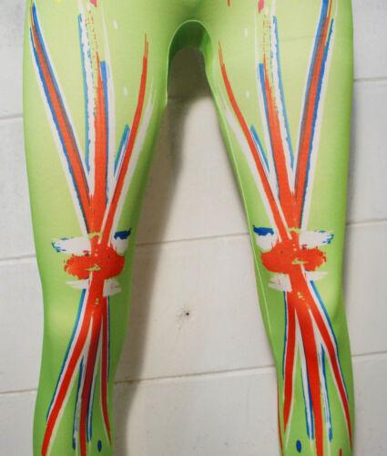 Rock Punk Green British Union Jack England UK Flag Tight Leggings Skinny Pants