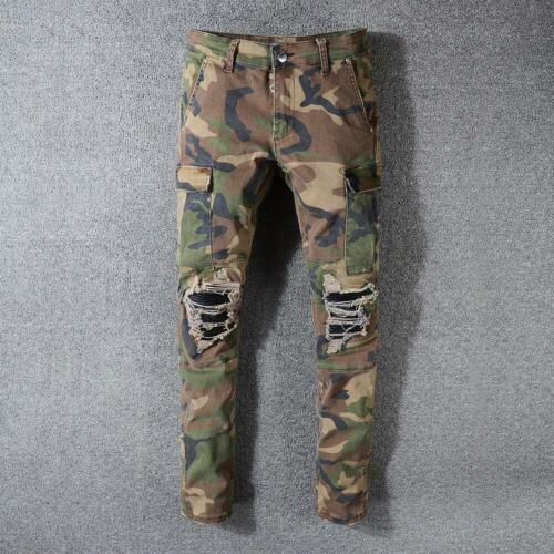 Homme Camouflage Skinny Déchiré Pantalon Armée Style effiloché Biker Slim Fit Pantalon