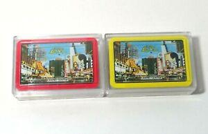 VINTAGE-Las-Vegas-MINI-PLAYING-CARDS-2-PK-LOT-Plastic-Box-HONG-KONG-Casino-Ctr