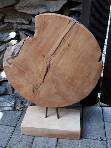 50cm Baum Scheibe Platte Relief Rad Skulptur Teak Holz Ständer