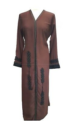 Stivali Marrone Scuro Abaya Con Moddren Ricami Hand Made | Burqa Fatta A Dubai-ka Made In Dubai It-it Mostra Il Titolo Originale