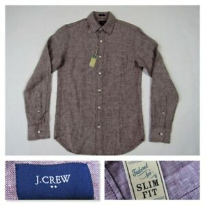J-Crew-Mens-Slim-Fit-Brown-Button-Front-Long-Sleeve-Linen-Shirt-New-XS