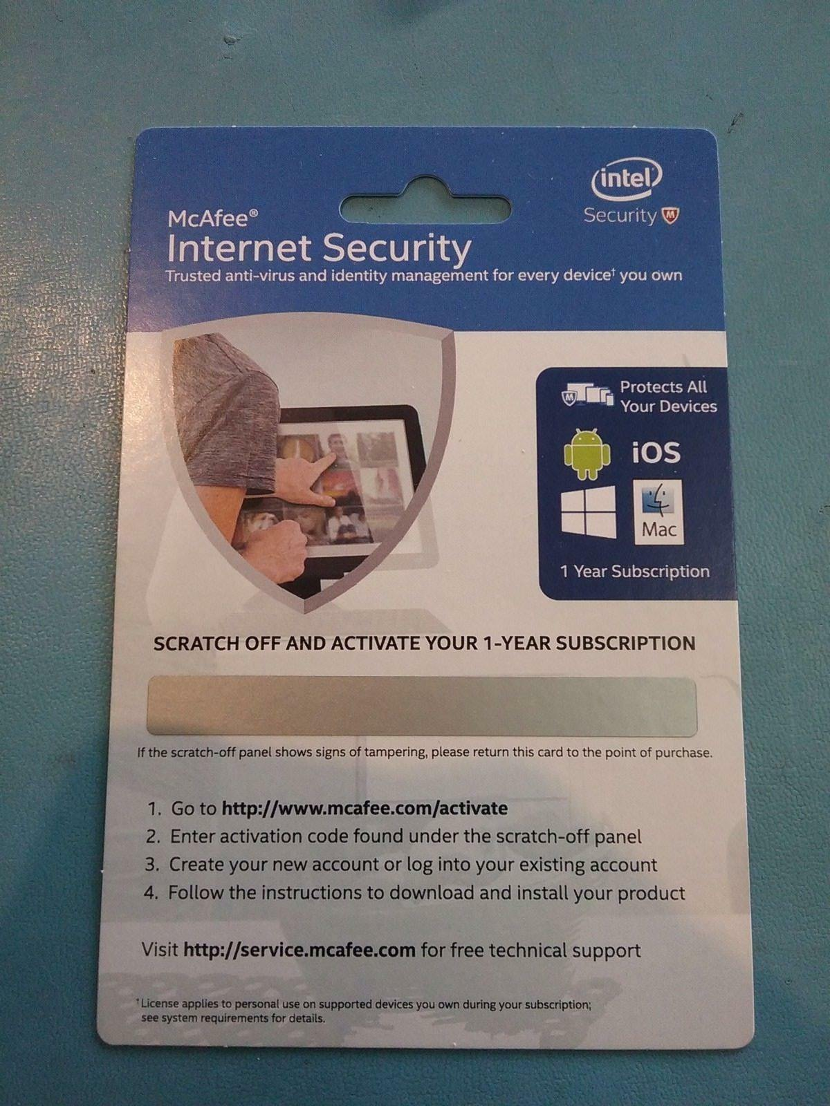Intel Software Mcafee Internet Security Physical Activation Card Antivirus 3 Year Stock Photo
